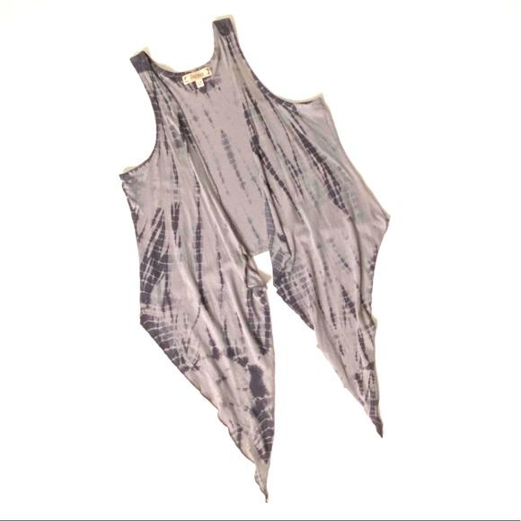 Decree Long Flowy Open Waterfall Vest Tye Dye